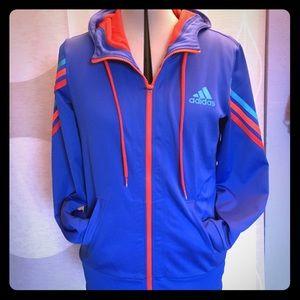 Adidas hoodie lightweight jacket w/stripe detail